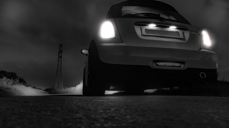 Mini Cooper Mode Of Transportation Transportation Car Motor Vehicle Land Vehicle Night Sky