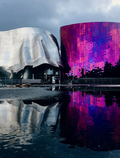 Architecture Building Exterior Built Structure Day Emp Museum Lake Nature No People Outdoors Reflection Seattle Sky Water Waterfront The Architect - 2017 EyeEm Awards