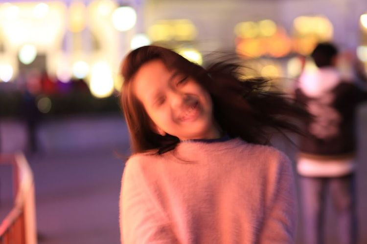 Can you see her smile? Shaking Outdoor Photography Running Smile Little Girl Focus On Foreground Real People Night Leisure Activity Lifestyles One Person Front View Looking At Camera Portrait