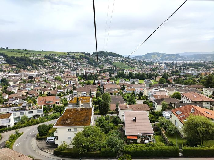 cable car rides Google Pixel Cable Car View Kriens, Switzerland Pilatus Mt. High Angle View Cloud - Sky Sky No People City Building Exterior Day Town Aerial View Cityscape An Eye For Travel Go Higher Adventures In The City