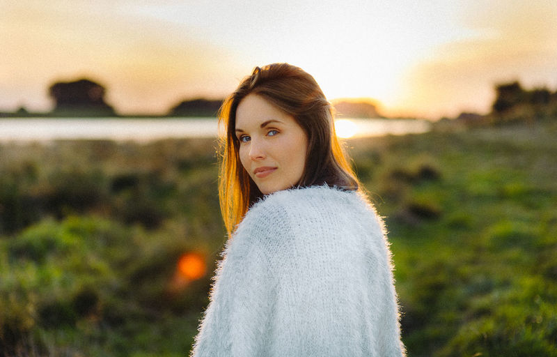 Portrait of woman during sunset