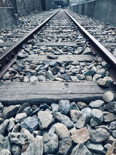 Abandoned Places Train Tracks Train Station ShotOnIphone Taiwan Track Rail Transportation Railroad Track Transportation The Way Forward Diminishing Perspective Direction Day No People Railroad Tie Metal Outdoors High Angle View Nature Rock Rock - Object Gravel Solid Stone - Object vanishing point