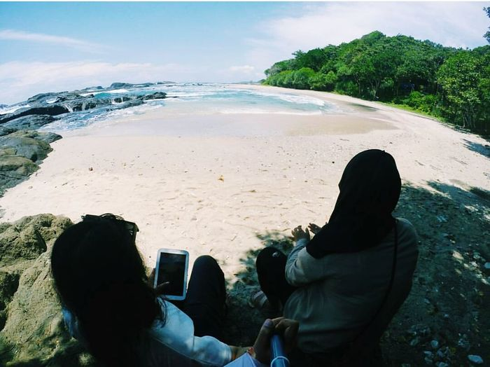 Enjoy The New Normal Panoramic View Beach Outdoors Day Sea Sky Women Around The World