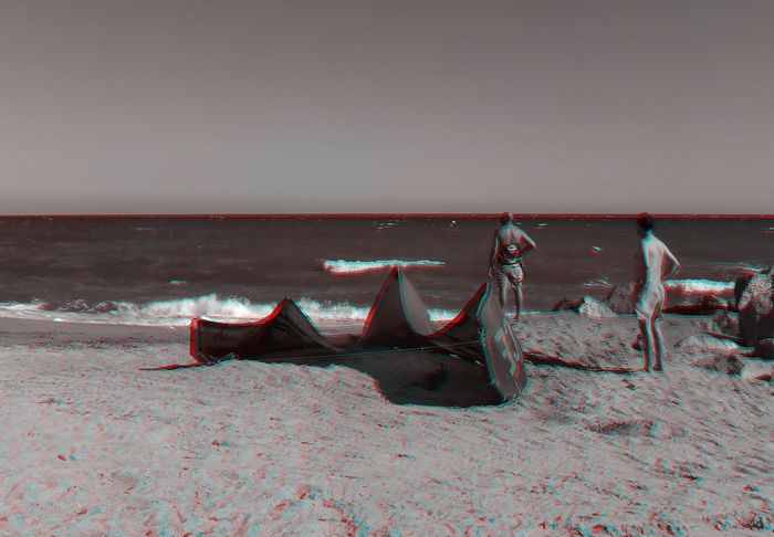 Beach Scenics Outdoors Day Sand Sea Katesurfing 3D 3D Art 3D Photo 3D Glasses  Visualize With Anaglyph Glasses