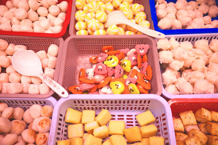 Fish balls come in all shapes an sizes, even bears! Abundance Arrangement Basket Bright Choice Collection Color Palette Colorful Display Fish Balls Food Food And Drink For Sale Freshness High Angle View Large Group Of Objects Market Market Stall Tofu Variation Eyeemphoto Beautifully Organized Food Stories