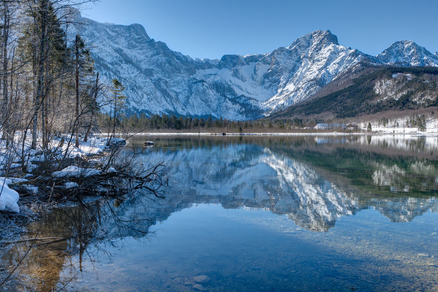The Almsee in Austria at a wonderful winter day. Austria Blue Clear Water Cold Temperature Day Idyllic Lake Landscape Mirror Mirror Reflection Mountain Mountain Range Nature No People Reflection Scenics Sky Snow Snowcapped Mountain Tree Water Winter Winter Winter Wonderland