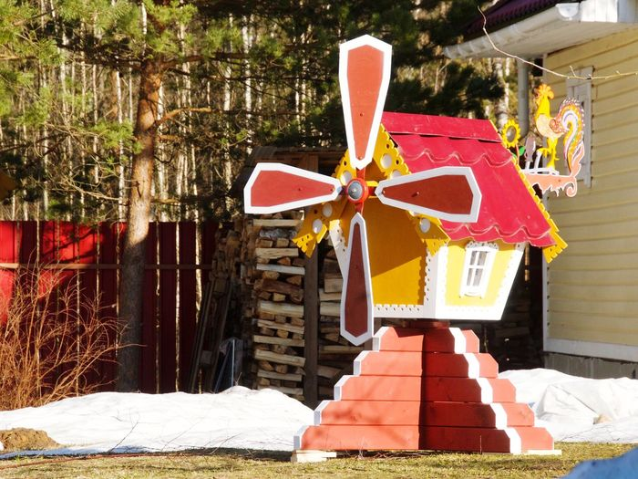Wooden Texture Wooden House Handmade Bilding Mill Windmill Toy House Weather Vane Colors Tree Multi Colored Snow Covered Wind Power Alternative Energy Wind Turbine