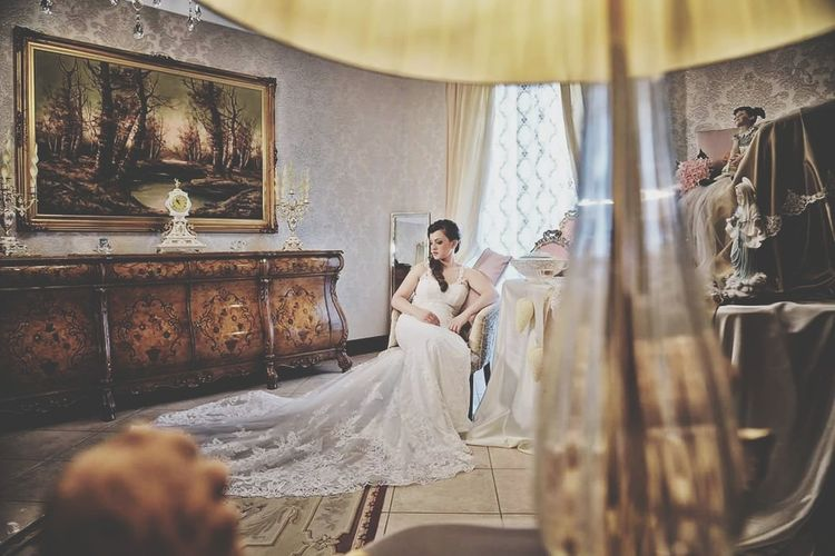 Bride Wedding Dress Indoors  Adult Young Adult Females Adults Only Togetherness Cheerful Happiness Wife Smiling Women Beautiful People Wedding Luxury Two People Married Elégance Bedroom