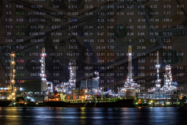 Oil refinery plant and stock market price index Architecture Crude Fuel Gas Gasoline Index Industrial Market Plant Twilight Analysis Building Building Exterior Crude Oil Day Factory Industrial Landscapes Invest Investment Money No People Oi River Stock Water
