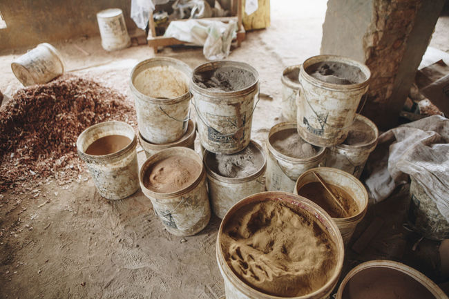Africa African Business Clay Close-up Day Dirt Dirty Dust Dusty Factory Ground Indoors  Machinery Manufacturing No People PLASTIC CONTAINER Pottery Powder Processing Raw Raw Material Raw Materials Social Issues Workshop