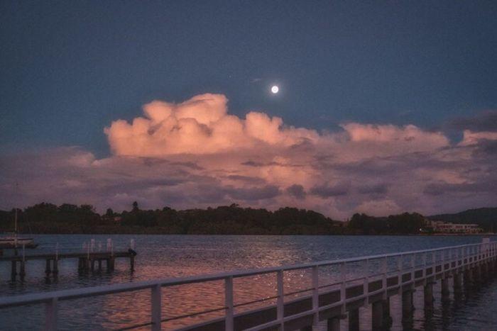Moonlight on the Water Australia Nsw Moon Moonlight Sky Clouds Water Dock Beautiful Colorphotography FujifilmXPro2 Xf35mmf2 Fujiusers