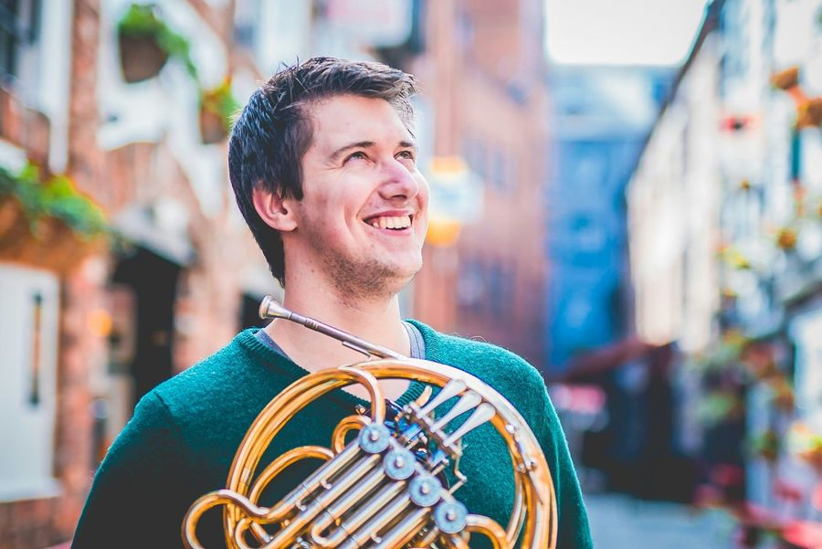 Musician French Horn Portrait Happy Street Vivid Colourful