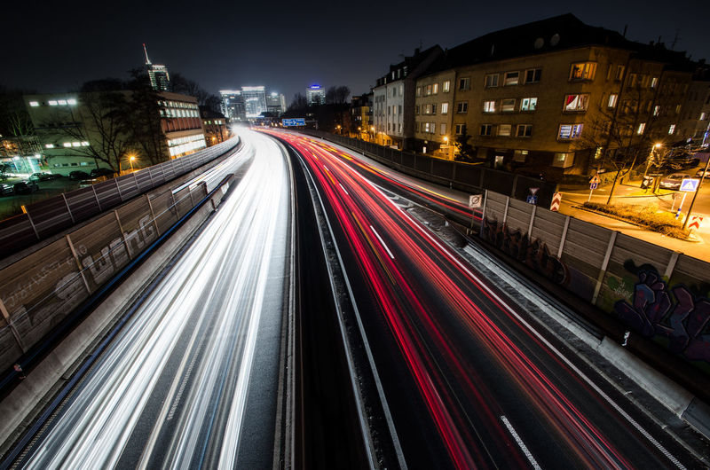 Light Trails Of Vehicles On Street At Night