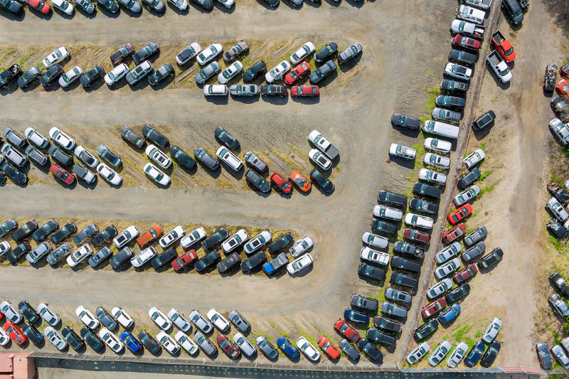 Aerial view of cars parking outdoors