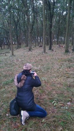 Sitting Making Pictures Outdoors Dunes Duinen