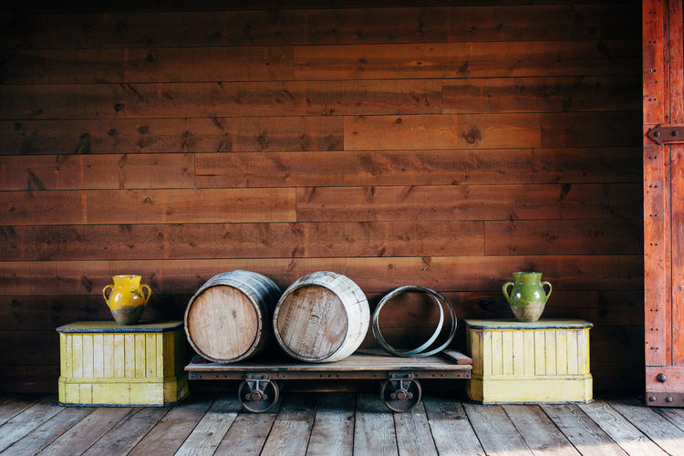 Wood - Material Still Life Container No People Indoors  Food And Drink Kitchen Utensil Household Equipment Food Table Wood Bowl Wall - Building Feature Empty Old Cylinder Domestic Room Healthy Eating Cooking Pan Tray