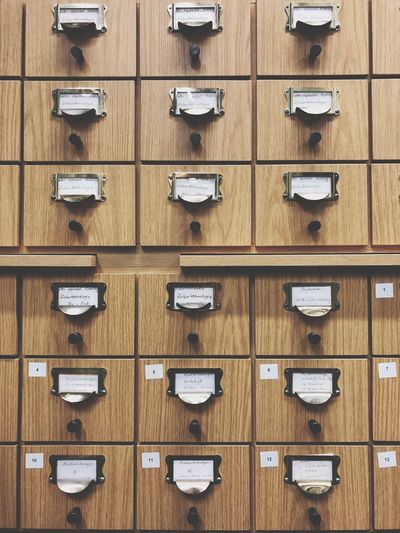 EyeEm Selects In A Row Full Frame Repetition Backgrounds Wood - Material Drawer Indoors  No People Filing Cabinet Day Science Close-up Library Bibliothek TU Berlin Berlin