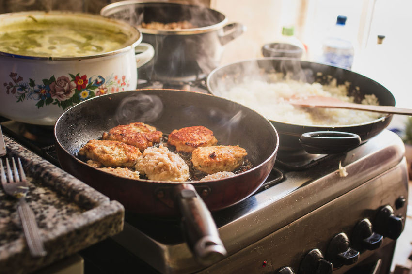 Cooking Dinner Homemade Food Food Food And Drink Fried Frying Pan Hamburger Heat - Temperature Indoors  Kitchen Meat No People Patties Preparation  Preparing Food Russian Soup Stove