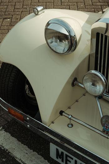 High angle view of car wheel