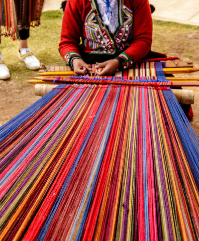 Adult Adults Only Close-up Cultures Day Human Hand Loom Midsection Multi Colored Occupation One Person Outdoors People Peruvian Peruvian Culture Peruvian Girl Real People Skill  Textile Weaving Working EyeEm Ready