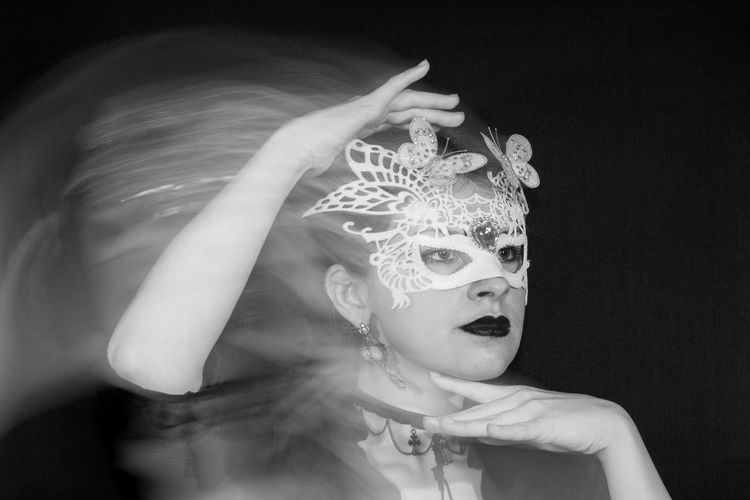 Photography become an expression of emotion for me too, and even in a still frame i could portray the movement and turmoil of my body and its pain it carries around with it within rear curtain sync and timed movement. EyeEm Best Shots The Creative - 2018 EyeEm Awards The Fashion Photographer - 2018 EyeEm Awards The Portraitist - 2018 EyeEm Awards The Week on EyeEm Adult Beautiful Woman Black Background Costume Disguise Females Front View Headdress Headshot Human Face Indoors  Leisure Activity Lifestyles Looking At Camera Mask Mask - Disguise One Person Portrait Real People Studio Shot Women Young Adult Young Women HUAWEI Photo Award: After Dark