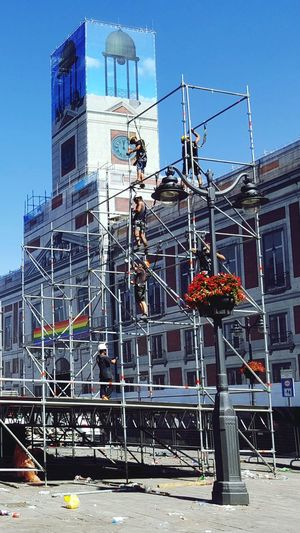Madrid Square Scafolding Workers Workers At Work GAY FLAG Love Is Love