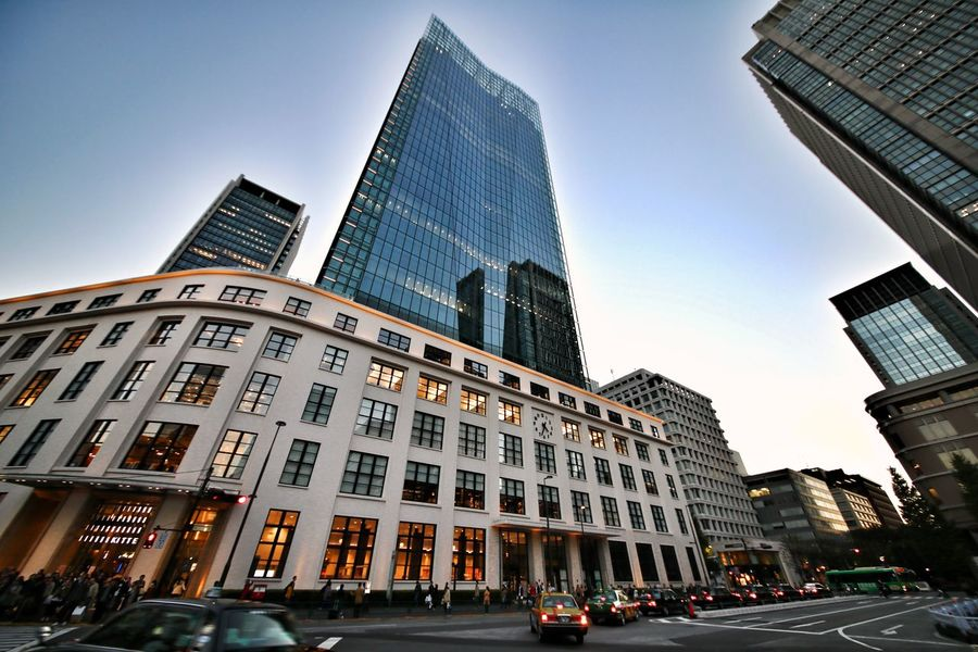 Skyscraper City Architecture Finance Modern Business Office Travel Destinations Office Building Exterior Illuminated Tower Business Finance And Industry Façade No People Sunset Outdoors District Urban Skyline Cross Section Downtown District Tokyo KITTE 5DMarkIV Sigma12-24mm Tokyo Station