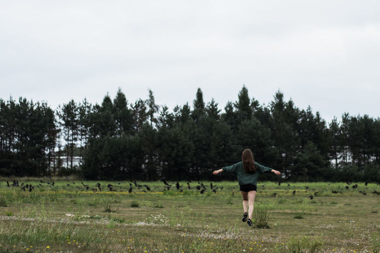 Freedom Dark Lifestyles Freedom Green Color Green Growth Free Run Field Land Nature One Person Outdoors Tree Patchwork Landscape Plantation Cultivated Land Farmland Meditating Fitness Friend Plant Life Blooming
