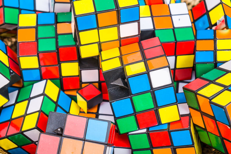 Full frame shot of colorful puzzle cubes