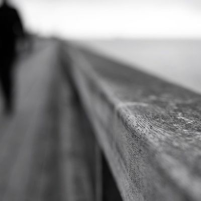 Blackandwhite Shallow Depth Of Field Bannister Boardwalk Wood Ireland Dublin