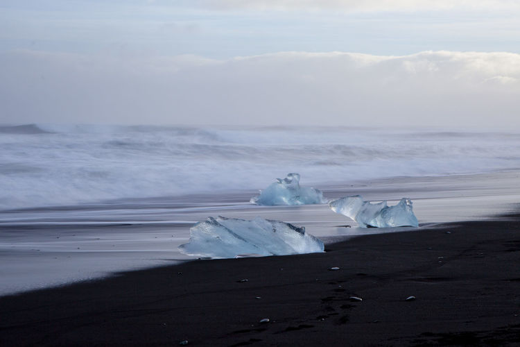 Beach Cold Ice Iceberg Iceland Sand Sea Washed Ashore Washed Up Winter