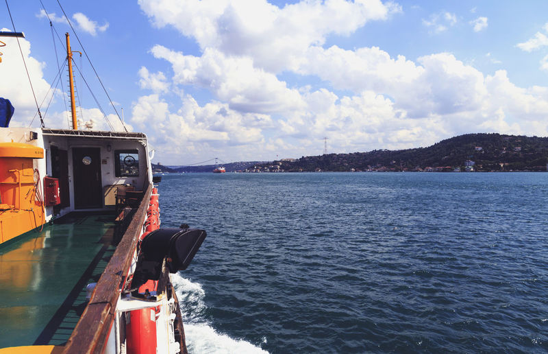Boat Bosphorus Calm Distant Guidance Horizon Over Water Istanbul Turkey Journey Lake Nautical Vessel Ocean Outdoors Reflection Rippled River Scenics Sea Tourism Tranquil Scene Voyage Water Waterfront