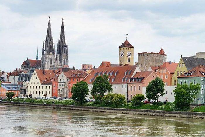 Beautiful View of the City and the DomStPeter Cathedral . On the Eisernersteg Liebesschlösser Bridge . Over the Danube River . Regensburg Germany Deutschland . Taken by my Sonyalpha DSLR Dslt A57 . جسر نهر الدانوب ريجنزبرغ المانيا
