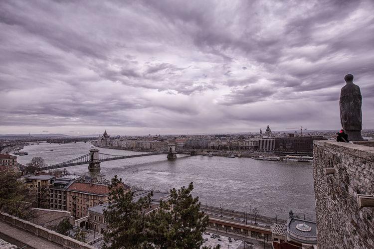 Bridge Budapest Castke Cloud Cloud - Sky Danube Dark River Sculpture Sky Suspension Bridge Water