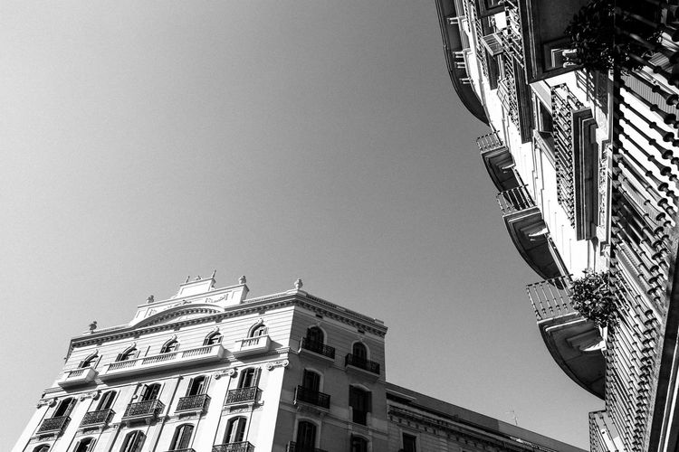 Antique Architecture Balcony Barcelona City City Life City Life Clear Sky Grainy Low Angle View