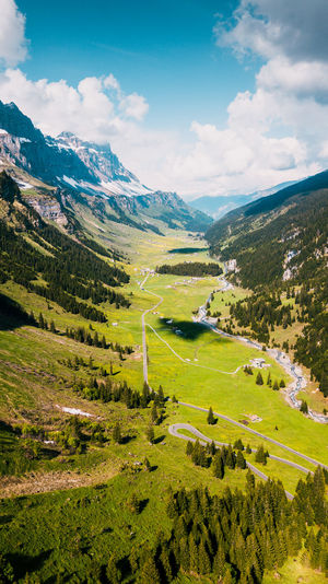 Mountain Scenics - Nature Landscape Environment Sky Beauty In Nature Tranquil Scene Cloud - Sky Tranquility Green Color Non-urban Scene Grass Nature Day Plant Mountain Range Idyllic Land Tree Outdoors Rolling Landscape Klausenpass, Schweiz Klausen Drone  Dronephotography