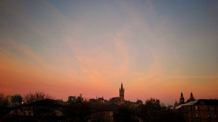 Sunset Sky No People Tree Outdoors Nature Architecture Day GlasgowUniversity View From My Office Orange Color Partick Bridge Beauty In Nature
