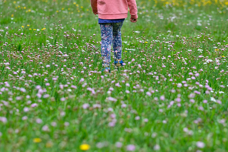Low section of girl walking on plants