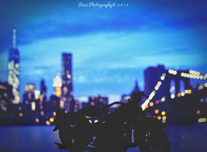 Night Illuminated Sky Outdoors Industry Architecture Built Structure Blue No People Defocused City SonyHX400V Sony Close-up City Bike Newyorkcity Bokeh Photography HarleyDavidsonMotorcycles