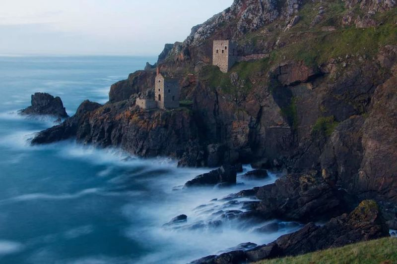 Poldark Cliff Scenics Outdoors Landscape Steep No People Mines Tin Sea Rock - Object Beach Nature Travel Destinations Blue Wave Beauty Beauty In Nature Sunset Vacations Water Sky Horizon Over Water