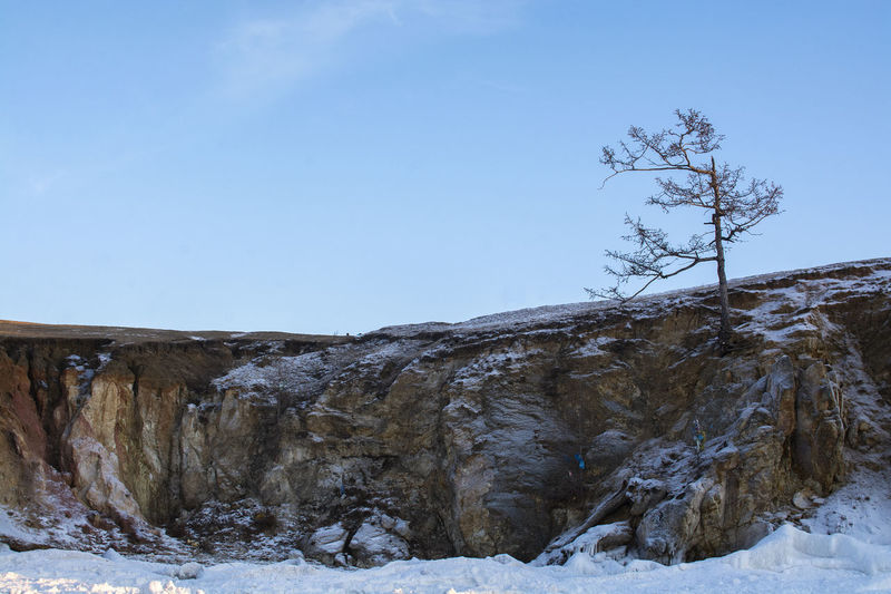 Olkhon Island, Russia Snow Winter Cold Temperature Sky Nature Scenics - Nature Beauty In Nature Tranquility Tree Clear Sky No People Tranquil Scene Plant Day Land Frozen Blue Copy Space Environment Outdoors Icicle Snowcapped Mountain