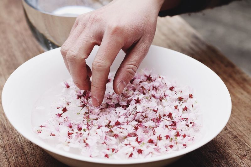 Close-up of hands touching flower petals
