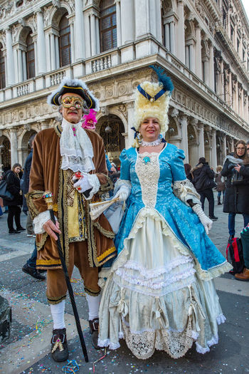 Carnival Carnival In Venice Venice, Italy Adult Adults Only Architecture Arts Culture And Entertainment Carnival - Celebration Event Carnival Costumes Celebration Day Front View Full Length Looking At Camera Mask Only Women Outdoors People Performance Portrait Smiling Togetherness Tradition Two People Women Young Adult