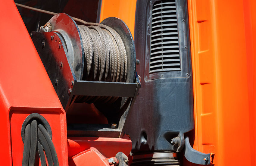 sling spool. Heaven Industry Machine Machinery Roll Sling Work Car Carry Coil Crane Elevate Engine Fire Engine Mechanism Metal Mode Of Transport Spin Spool Swing Transportation Trucks Vehicle Wind Wire
