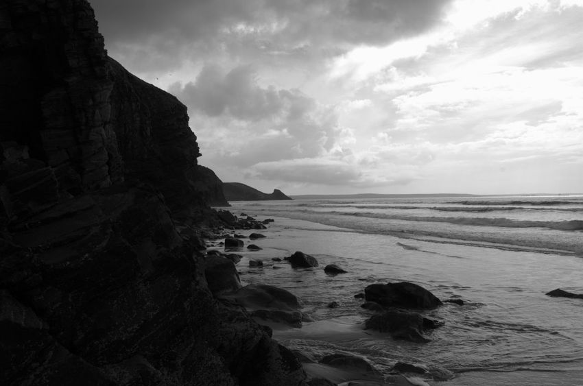 Rock Formation Newgale Pembrokeshire Coast Rock Beach Coast Beauty In Nature Out For A Walk Outdoors Sea And Sky Blackandwhite Black And White Pembrokeshire No People Coastpath Day Nature Tranquil Scene Seaside Sea Seascape