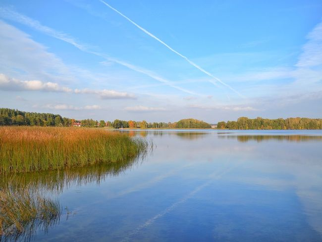 Reflection Sky Scenics Lake Nature Cloud - Sky No People Outdoors Beauty In Nature Blue Day Landscape Autumn Water Jezioro Wulpinskie Warmia Mazury Jesień Polska Poland Landscape Photography
