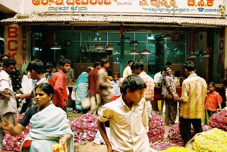 People at flower market
