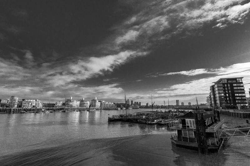 river thames taken in monochrome Architecture Band Blackandwhite Boat Building Exterior Built Structure City Cloud Cloud - Sky Cloudy Harbor Mode Of Transport Monochrome Moored Nature Nautical Vessel River Sea Sky The The Thames Transportation Water Waterfront Weather