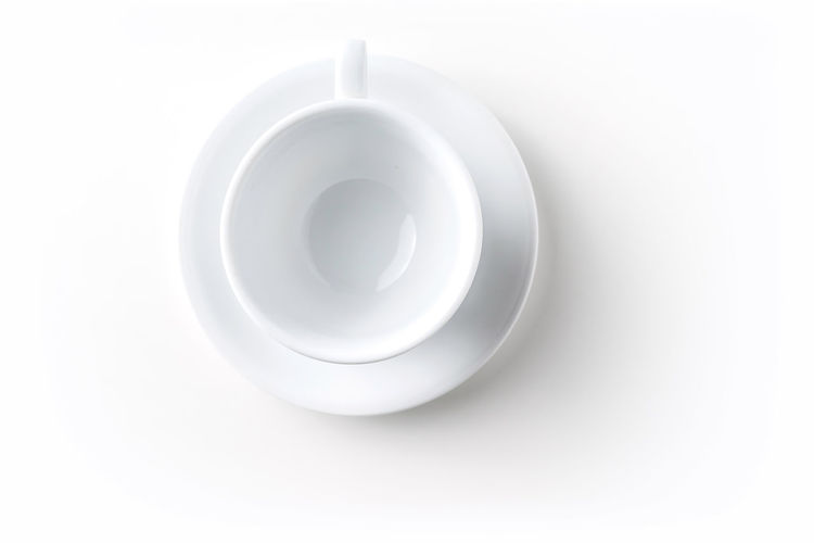 Directly above shot of coffee on white background