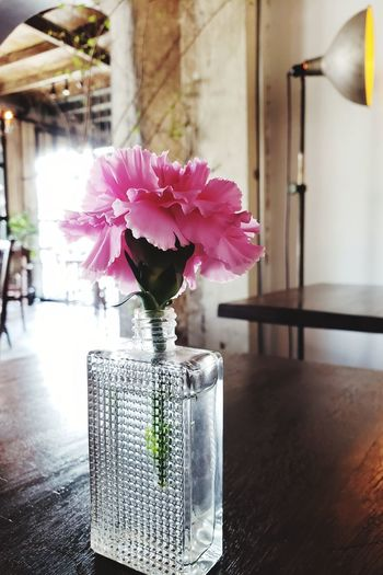 Close-up of pink flower vase on table